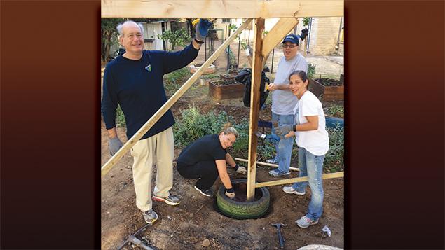 Marty Marks, Erika Kremin, Aram Schwartz, and Robin Brill build a pergola.