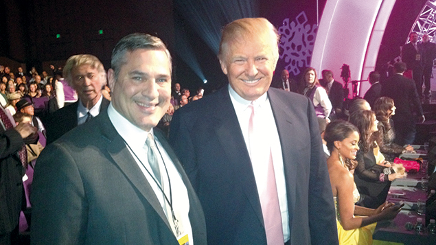 Michael Wildes and Donald Trump smile together at the 2012 Miss Universe Contest in Las Vegas.