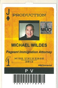 Michael Wildes' ID tag from the 2012 Miss Universe contest.