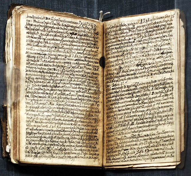 A page from the 1595 memoir of Luis de Carvajal th e Younger, who was burned at the Inquisition stake.