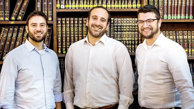 Yehuda Goldberg, Rabbi Shlomo Chayen, and Rabbi Ari Yablok of Torah Tech in the beit midrash of the Tel Aviv synagogue that will house the program.