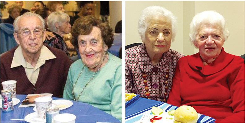 From left, Leon and Goldita Veiser and Marta Felberbaum and Olga Jaeger meet for lunch, entertainment, and understanding at Café Europa, a program that both JFS agencies offer.