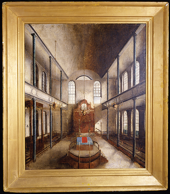 A view of the interior of Charleston's Orthodox shul painted by Solomon Carualho in 1836.