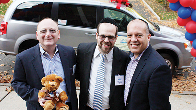 From left, Sam Fishman and Rabbi Rothwachs join Jason Shames, the CEO and executive vice president of the Jewish Federation of Northern New Jersey.