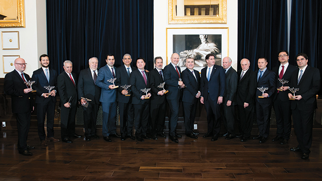 Ambassadors of countries that aided Israel during its recent forest fires pose with officials of the Conference of Presidents of Major American Jewish Organizations at a Chanukah party at the Trump International Hotel in Washington, D.C., on December 14. (Conference of Presidents)
