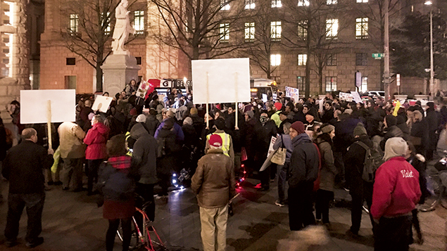 IfNotNow protesters outside the Trump International Hotel in Washington, D.C., demonstrate against a Chanukah party co-hosted by the Conference of Presidents of Major American Jewish Organizations on December 14. (Ron Kampeas)