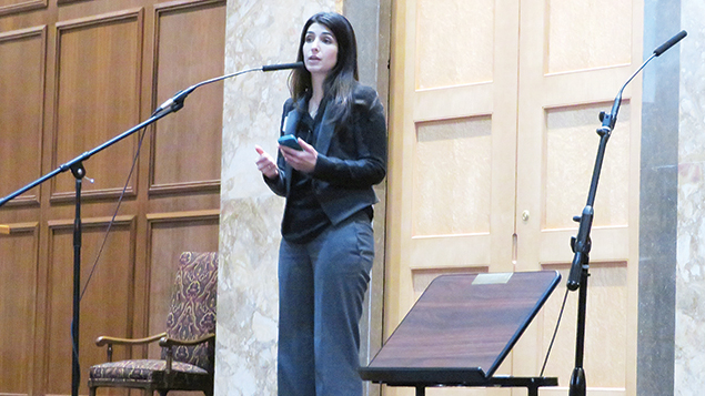 Ambereen Shaffie of the Sisterhood of Salaam Shalom addresses a Muslim-Jewish gathering at Congregation Tifereth Israel. (Ron Kampeas)
