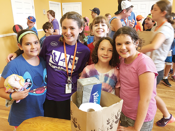 Campers at Ramah Nyack pack supplies.