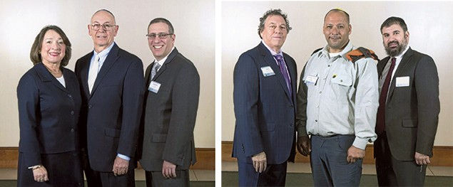 From left, Toby and Peter Glick and Mordechai Ungar; Buzzy Green, Lt. Col (Res.) Ariel Almog, and Yossi Kahana, JNF education head. (Photos courtesy JNF)