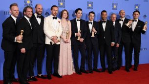 """Cast and crew of """"La La Land,"""" winner of Best Motion Picture - Musical or Comedy pose in the press room at the 74th Annual Golden Globe Awards in Beverly Hills, California yesterday. Getty Images"""