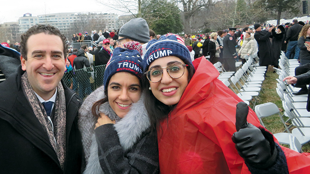 From left, Adam King, Chaya Israely, and Chaya Illulian at the inauguration of President Donald Trump. (Ron Kampeas)