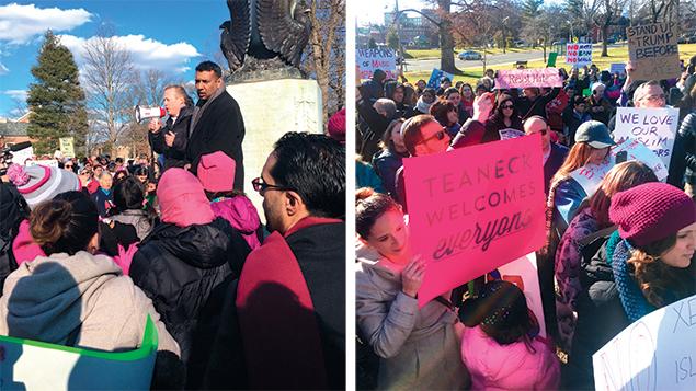 Congressman Josh Gottheimer addresses the crowd as Teaneck Mayor Mohammed Hameeduddin looks on.