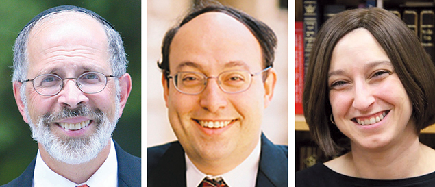 Rabbi Shmuel Goldin, left, Rabbi Nathaniel Helfgot, and Pamela Scheininger