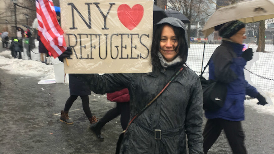 Lisa Davidson, seen at the New York rally, says she sees parallels between the Holocaust and the civil war in Syria. (Josefin Dolsten)