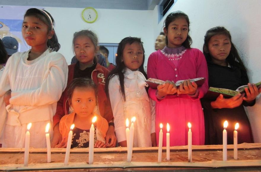 Members of the Bnei Menashe Jewish community from across northeastern India gathering in Churachandpur, in the Indian state of Manipur to celebrate Hanukkah, Dec. 8, 2015. (Shavei Israel)