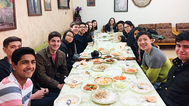 The group visits a Druze village near Mount Carmel.