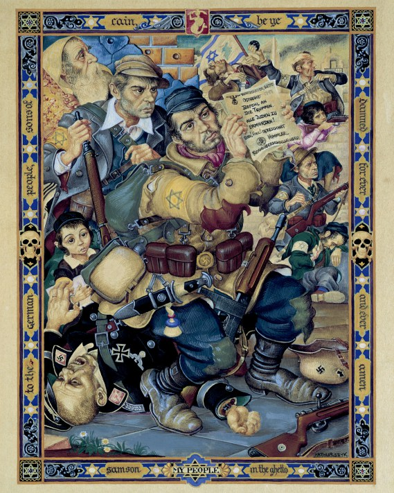 """In """"Samson in the Ghetto"""" Szyk honors of the victims and survivors of the Warsaw Ghetto Uprising."""