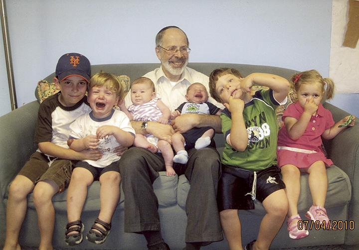 With many of his grandchildren (he has 12 now), as real life intrudes.