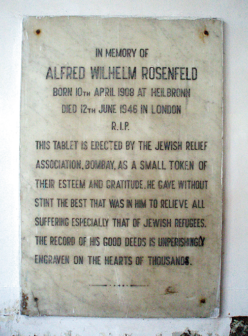 This plaque honors Alfred Rosenfeld.