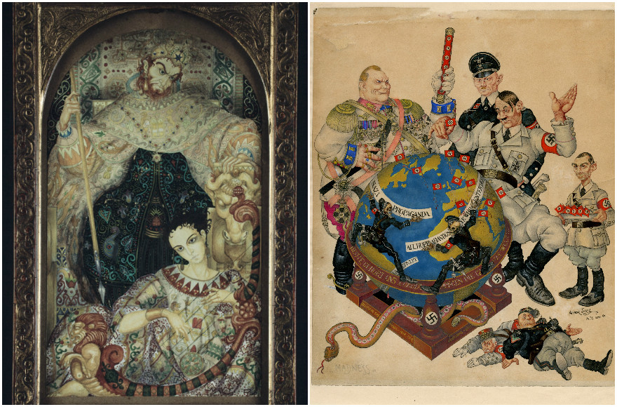 """""""David and Saul"""" (1921), left, and """"Madness"""" (1941), by Arthur Szyk. (The Magnes Collection of Jewish Art and Life, University of California, Berkeley)"""