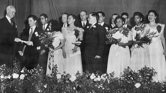 Marcia Nemeth, far right, graduating from the New York Institute for the Education of the Blind.