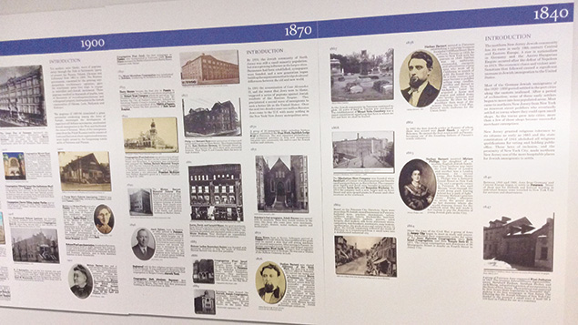 The historic timeline assembled by society volunteers is displayed on the wall at the group's Fair Lawn headquarters.