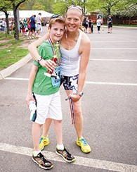 Catherine Brown and her son, Gabriel, after the run last year.