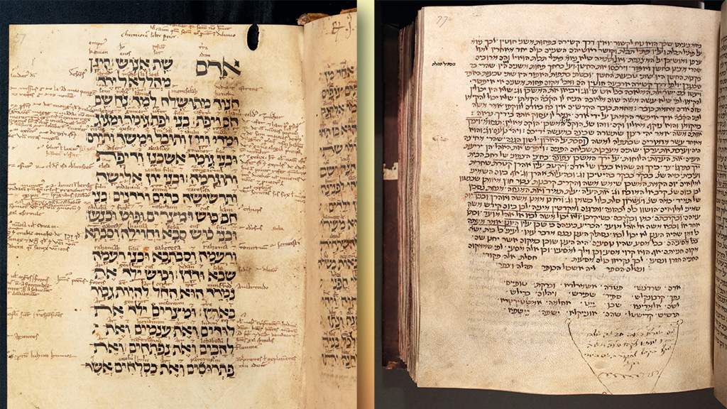 From left: The beginning of I Samuel, in parallel Latin and Hebrew versions, with a Latin translation written above each Hebrew word. Written in England, in the first half of the 13th century. Corpus Christi College, Oxford, MS 9; Rashi, Commentaries on books of the Hebrew Bible; one of the oldest versions extant. Written probably in France in the late 12th century. Corpus Christi College, Oxford, MS 165.