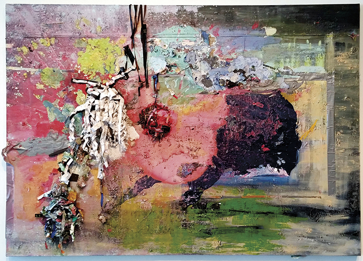 """Sara Klar, """"Je Suis Juive, I Am You (Talmud Dreds and Tefillin Bindings),"""" 2015-2017. Acrylic, Talmud pages, tefillin case and straps and mixed media on canvas. (SARA KLAR)"""