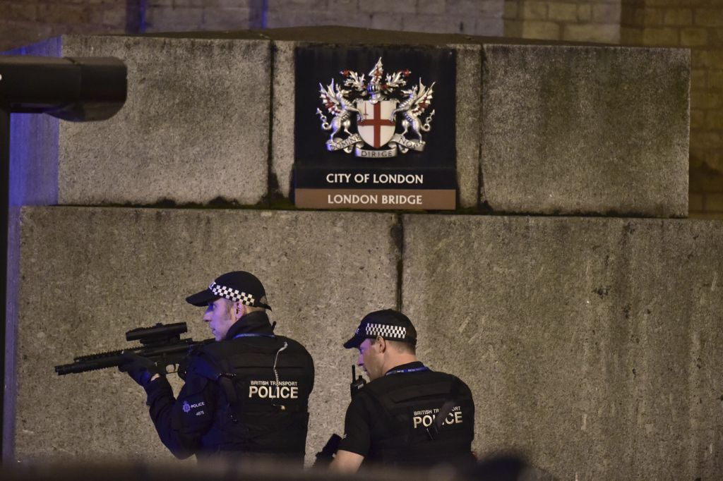 Armed London policemen on London Bridge