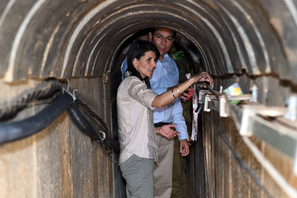 US Ambassador to the UN Nikki Haley visits at a terror tunnel built by Hamas on the border of Israel with the Gaza Strip, June 8, 2017. (Matty Stern/U.S. Embassy Tel Aviv)