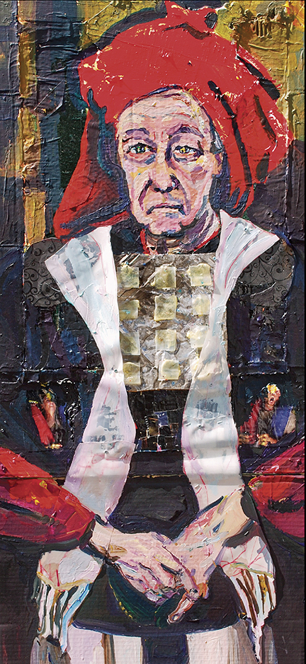 """Joel Silverstein, """"High Priest (Arnie)."""" The priest is modeled on El Greco's work, wears biblical robes, and has the face of the painter's father-in-law."""