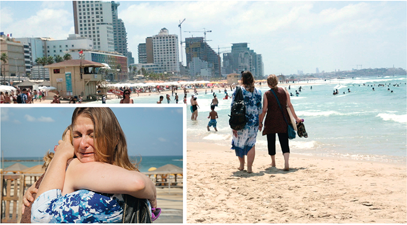 "Above, Alix Wall and Hanna Yarmarkov walk on the beach in Tel Aviv. Left, Hanna, facing the camera, hugs Alix as they recall the emotional power of ""The Lonely Child."""