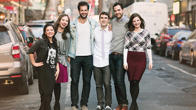 "The cast of ""Soon By You"": From left, Jessica Schechter, Leah Gottfried, Noam Harary, Danny Hoffman, Nathan Shapiro, and Sara Scur (Abbie Sophie)"