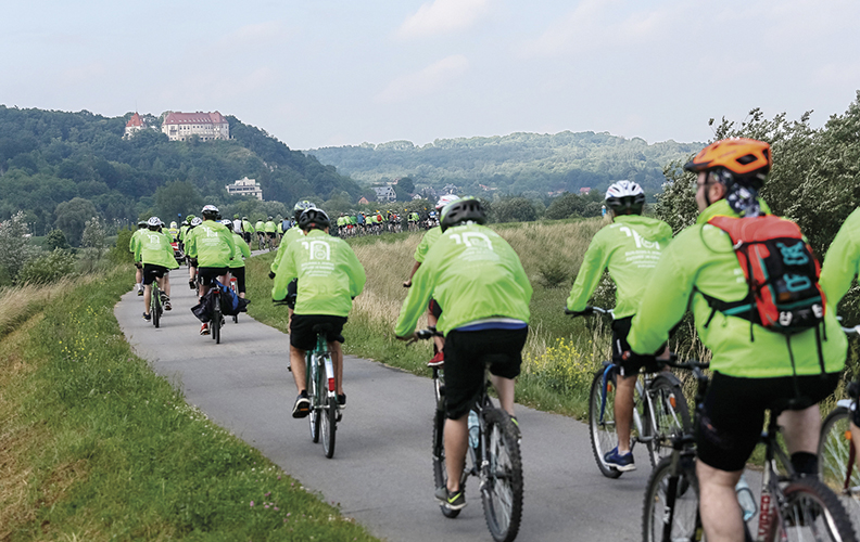 As the group approaches Krakow, it rides alongside the Vistula River.