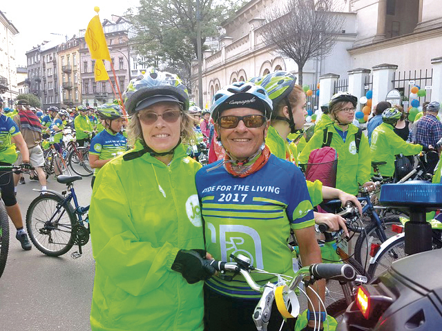 Simone and her brother, Leon Hilfstein, outside the Krakow JCC at the ride's end.