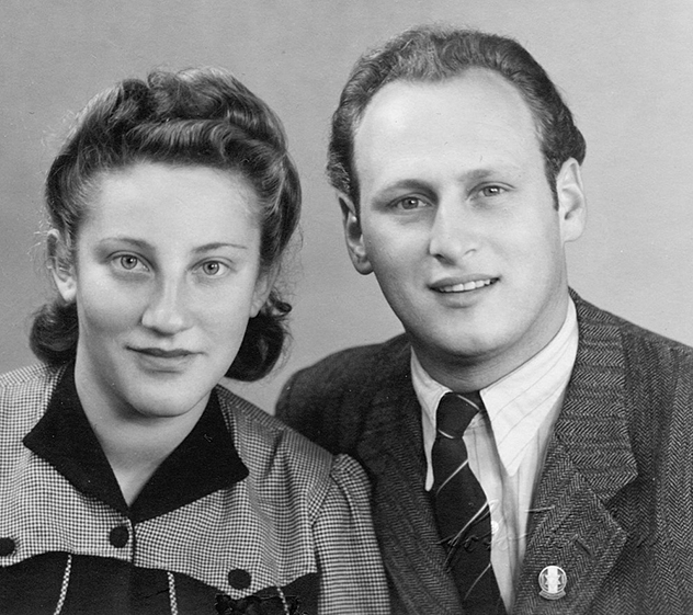 Erna and Max Hilfstein in 1950, in the United States.