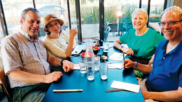 Steve and Abby Leichman join their friends Barbara and Fred Casden, fellow Teaneck expats, at dinner.