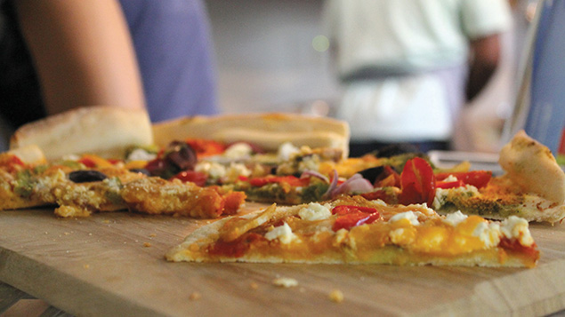 On their training days, the student chefs make their own lunch. This vegetable pizza with feta cheese is one of those lunches.