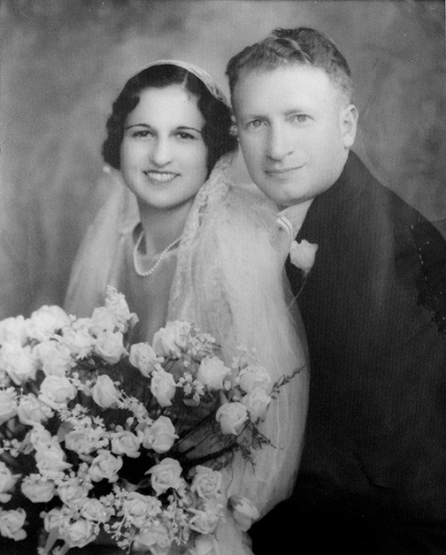 Julia Newman and Morris Abramowitz in their 1934 wedding photo.