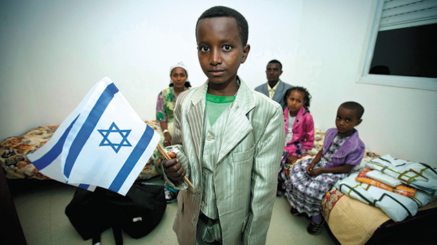New immigrants from Ethiopia arrive at the Ibim Absorption Center in Jerusalem in October 2012 (Moshe Shai)