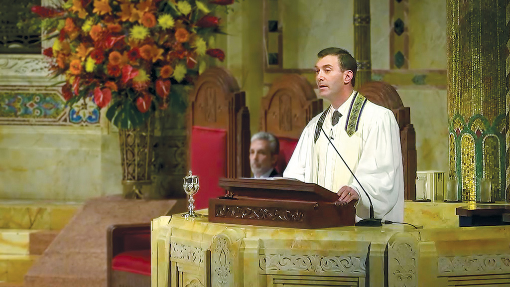 Rabbi Joshua Davidson delivers a High Holidays sermon at Temple Emanu-El in Manhattan. (Courtesy of Temple Emanu-El)