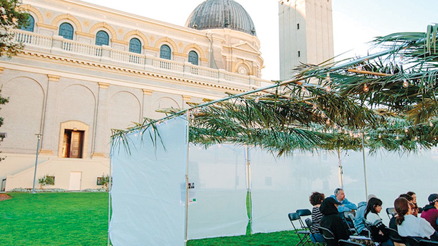 """In San Francisco, a sukkah outside a church sparked discussions about identity During each night of Sukkot, guests were invited to a sukkah that just happens to be outside St. Ignatius, a Catholic church near Golden Gate Park, to talk about identity, difference, responsibility, and faith. The """"Open Doors"""" sukkah, organized jointly by University of San Francisco's Swig Program in Jewish Studies and Social Justice and the Kitchen, a nondenominational Jewish community, hosted a multifaith vigil featuring speakers who explored such themes as racial justice, environmentalism, and mass incarceration."""