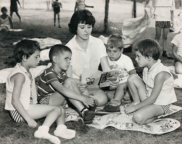 Sue Kampner of Paterson was a junior counselor at Camp Veritans in 1959. She is surrounded, left to right, by Linda Rich and Larry Waxman of Paterson, Elliot Nochimson of East Paterson, and Debra Rich of Paterson. This photo appeared in the Paterson News and was contributed by society member Debbie Grossman.