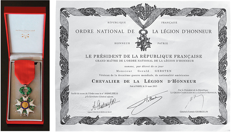 The French Legion of Honor medal and certificate