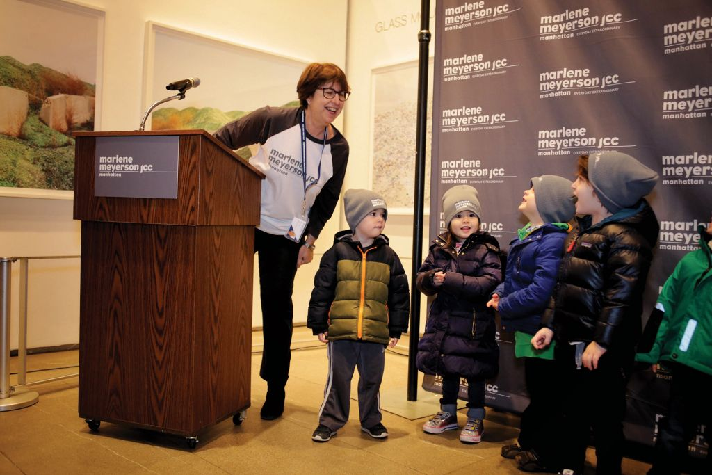 Rabbi Joy Levitt Introduces Nursery School Students To Sing During The Renaming Event
