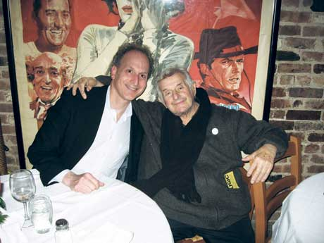 Sid Bernstein and James Janoff at dinner in New York City.